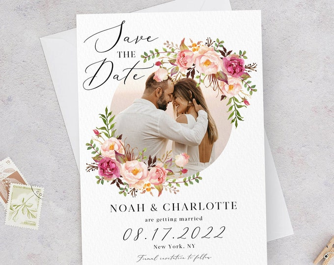 Photo Save the Date Template, Marsala Wedding, Pink Floral, Engagement Photo Save the Date, DIY Printable, Editable DIY, Save the Date, F4