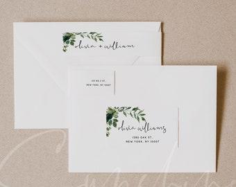 Greenery Wedding Envelope Address Label Template, Printable Envelope Return Sticker, Recipient Address Sticker, Instant Download Templett G5