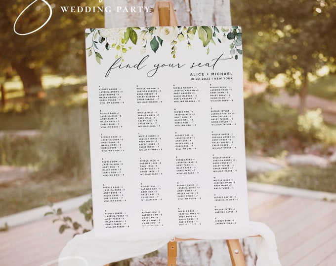 White Floral Wedding Alphabetical Seating Chart Template, Printable Seating Plan, 100% Editable, Wedding Sign, Instant Download, Templett F7