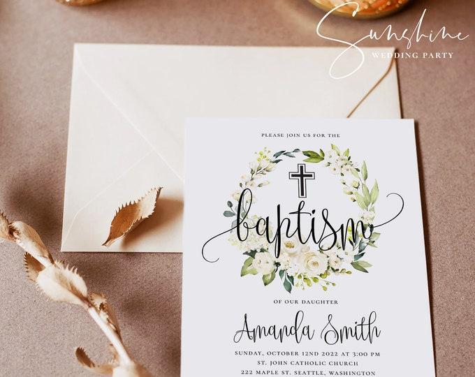 Baptism Invitation Template, Editable Baptism Invitation, Christening Invitation, Printable Baptism Invitation Template, Instant Download
