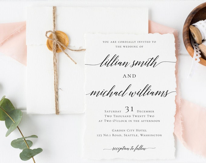 Wedding Invitation Template Calligraphy Wedding Invitation Printable 100% Editable Wedding Invitation Template Templett Instant Download R2