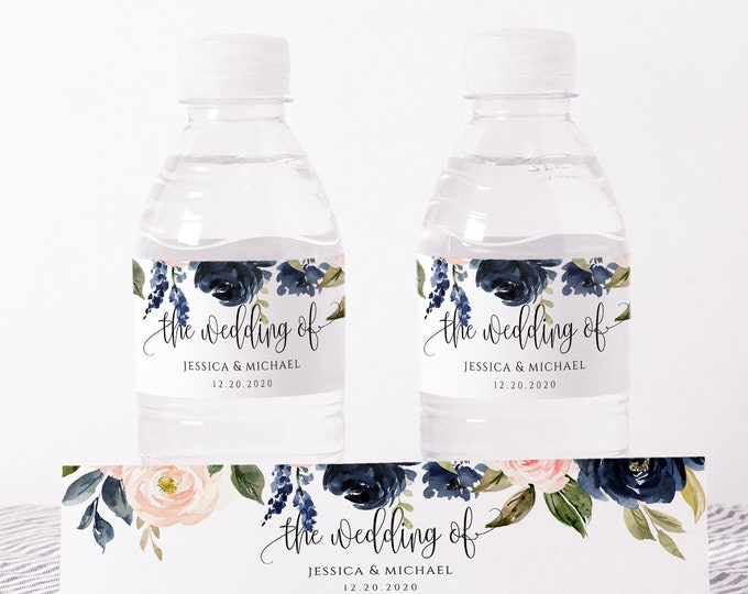 Wedding Water Bottle Label Template, Printable, Navy Blush Floral, DIY Wedding Label, Instant Download, 100% Editable Text, Templett, F6