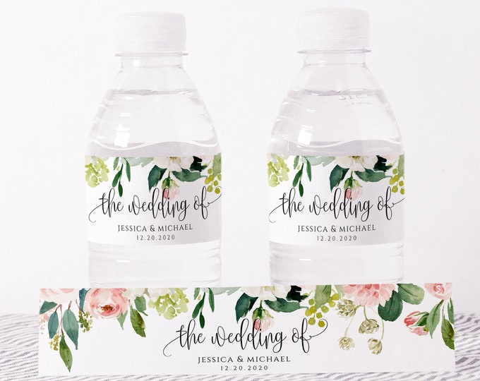 Wedding Water Bottle Label Template, Printable, Blush Pink Floral Labels, DIY Wedding Label, Instant Download, Editable Text, Templett, F5