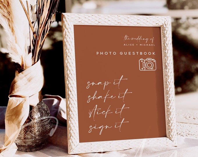 Terracotta Photo Guest Book Sign, Wedding Photo Guestbook Sign, Photo Guestbook Printable, Personalized Wedding Guestbook Sign, Templett, T1