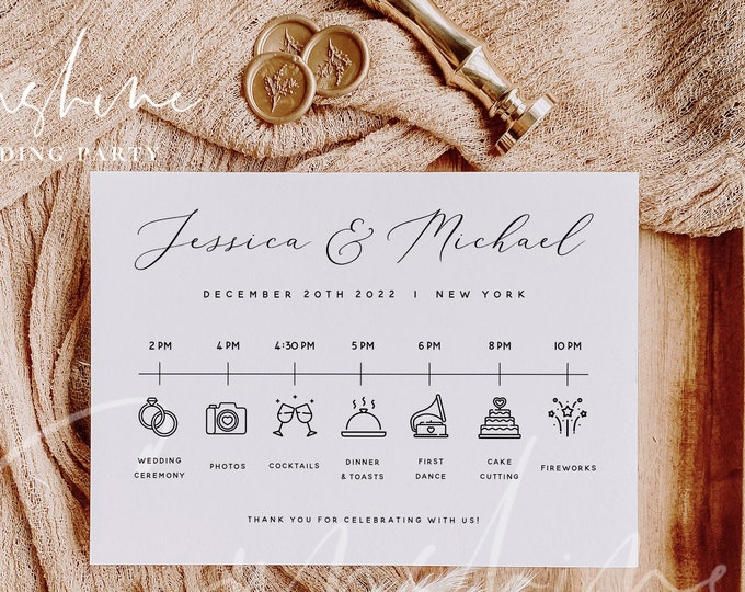 Wedding Itinerary Template, DIY Wedding Timeline Template, Wedding Timeline Program, Wedding Timeline Sign, Wedding Itinerary, Templett, R3