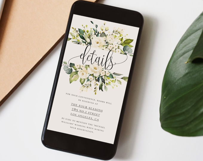 Wedding Electronic Details Template, White Floral Wedding, Wedding Details Information Template, Accommodation E-Card, Instant, Templett, F7