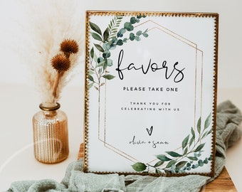 Greenery Favors Sign Template, Wedding Favors Signs, Printable Favors Signs, Editable Wedding Favors Signs, Instant Download, Templett, G5