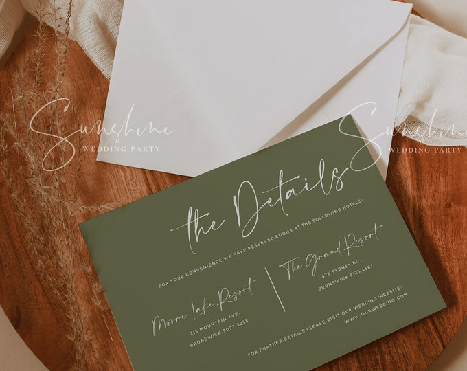Terracotta Wedding Details Template, Cactus Green Details Cards, Burnt Orange Wedding, Modern Minimal Boho Rustic, Instant Download, T1