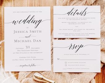 Modern Wedding Invitation Set, Calligraphy, Simple, Minimalist, Clean, RSVP, Details, Editable Template, Instant Download, Templett, R2