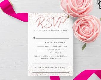Rose Gold Wedding RSVP Template Printable Rose Gold RSVP Card Template Editable Wedding RSVP Template Rose Gold Instant Download Templett M1