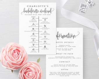 Bachelorette Weekend Timeline Template Wedding Itinerary DIY Weekend Timeline Template Printable Editable Sign Instant Download Templett R1