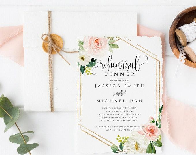 Rehearsal Dinner Invitation Template Blush Floral Printable Wedding Rehearsal Invite INSTANT DOWNLOAD 100% Editable Rehearsal Templett F5