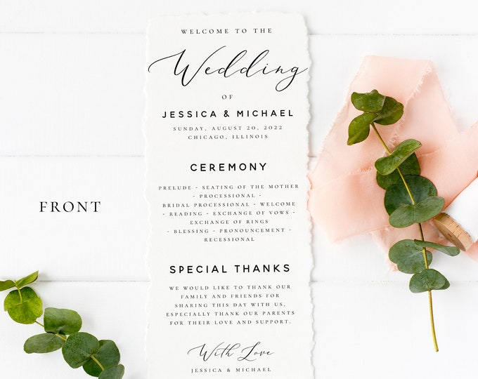 Wedding Program Template Printable Ceremony Program Template Wedding Program Template INSTANT DOWNLOAD 100% Editable Program Templett R3