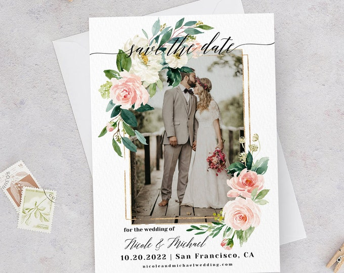 Photo Save the Date Template, Blush White Floral, Engagement Photo Save the Date, DIY Printable, Editable Save the Date Picture Template, F5