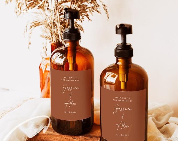Terracotta Wedding Hand Sanitizer Labels Template, Modern Printable Hand Sanitizer Favor, Editable Labels, Instant Download, Templett, T1