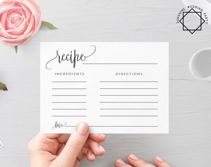Printable Recipe Card Template Wedding DIY Fully Editable Printable Recipe Template Bridal Shower Recipe Insert Instant Download Templett R1