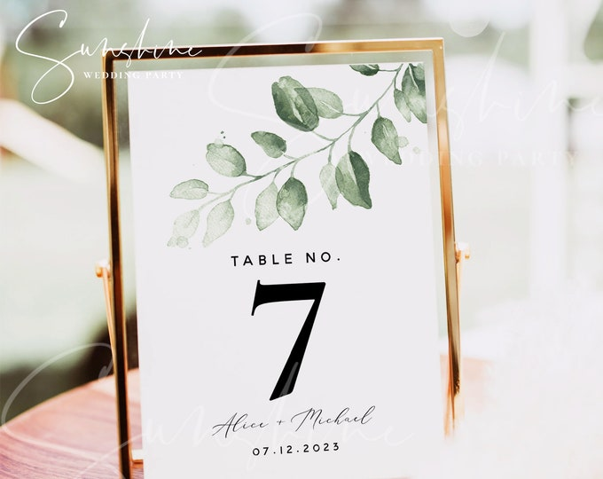 Eucalyptus Greenery Wedding Table Number Sign Template, Printable Wedding Table Number Card Template, Editable Instant Download, Templett G4