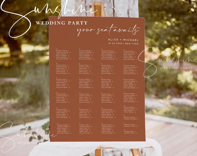 Terracotta Wedding Alphabetical Seating Chart Template, Printable Seating Plan Sign, 100% Editable, Modern, Minimalist, Instant, Templett T1