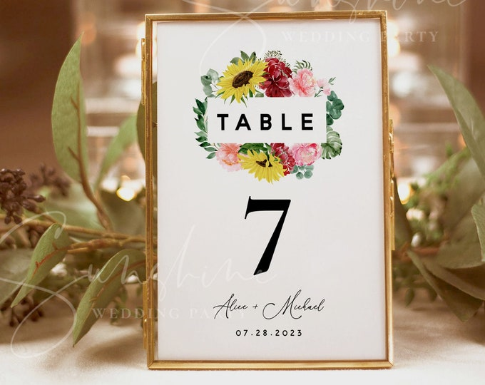 Sunflower Burgundy Wedding Table Number Sign Template, Printable Wedding Table Number Card, Editable Sign, Instant Download, Templett, F12