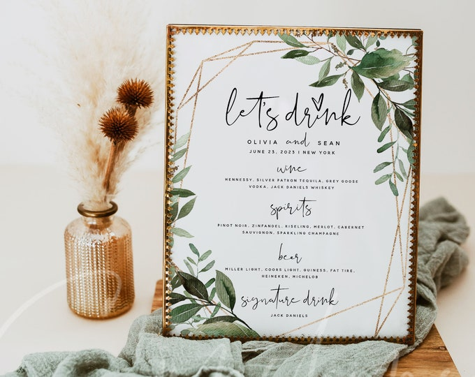Greenery Wedding Drink Menu Card Template, Printable Greenery The Bar Menu Sign, DIY Editable Greenery Drink Menu Card, Instant Download, G5