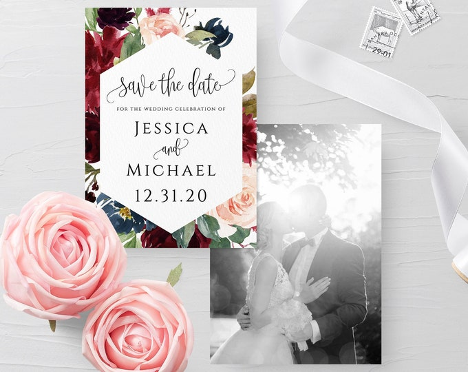 Photo save the date template DIY save the date Save the date photo template Wedding announcement cards Photo save the date printable card F3
