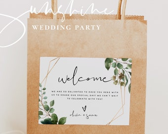 Welcome Bag Label Template, Greenery Wedding Welcome Bag Labels, Printable Welcome Bag Labels, Editable Labels, Instant Download Templett G5