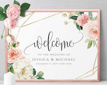 Wedding Welcome Sign Printable Wedding Welcome Sign Template Wedding Sign Editable Welcome Sign Welcome to our Wedding Sign Template Sign F5