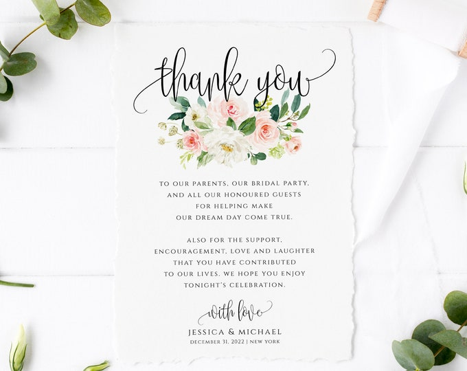 Wedding Thank You Card Template, INSTANT DOWNLOAD, 100% Editable Text, Printable, Blush floral, Boho Wedding, DIY, Thank You, Templett, F5