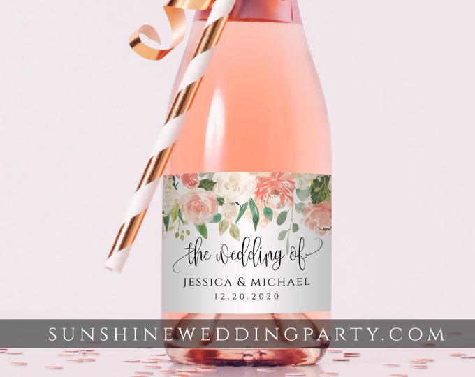 Mini Champagne Bottle Label Template, Peach Floral Wedding / Bridal Shower Favor, Editable Text, Printable, Instant Download, Templett, F1