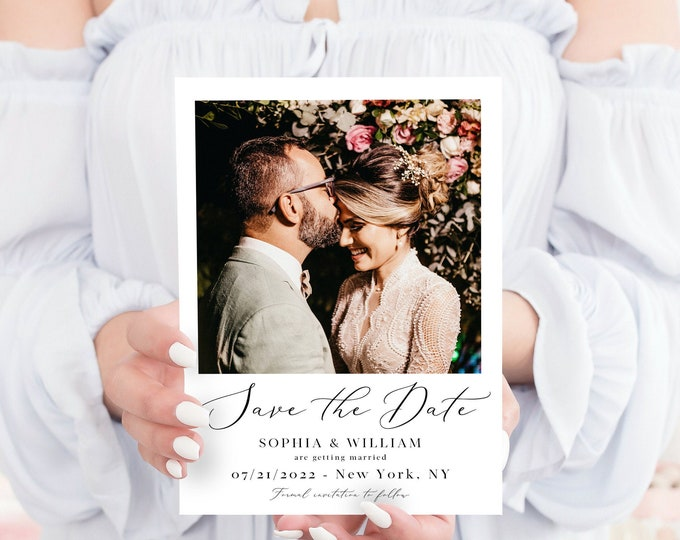 Photo Save the Date Template, Minimalist Wedding, Modern Engagement Photo Save the Date, DIY Printable, Editable DIY, DIY Save the Date, R3