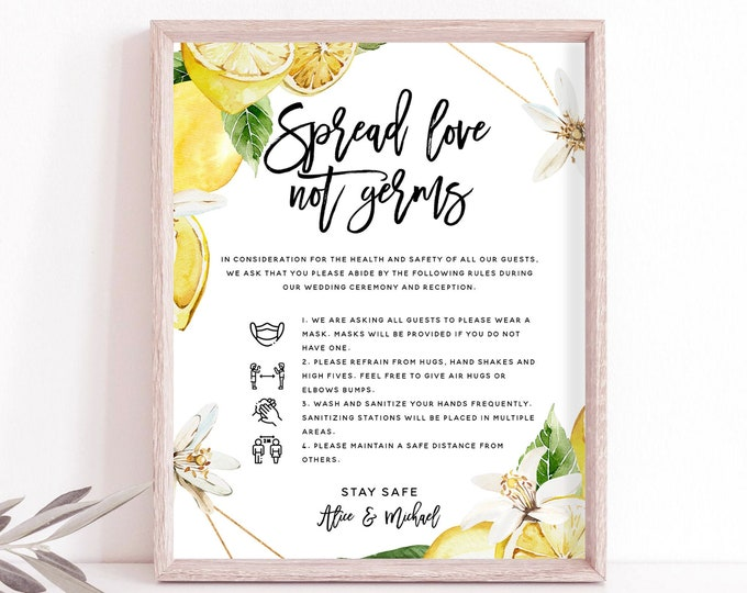 Covid Safety Sign, Wedding Covid Sign, Covid Safety Rules + Guidelines, Printable Covid Sign, Lemon Wedding, Wedding Instant Download, L1