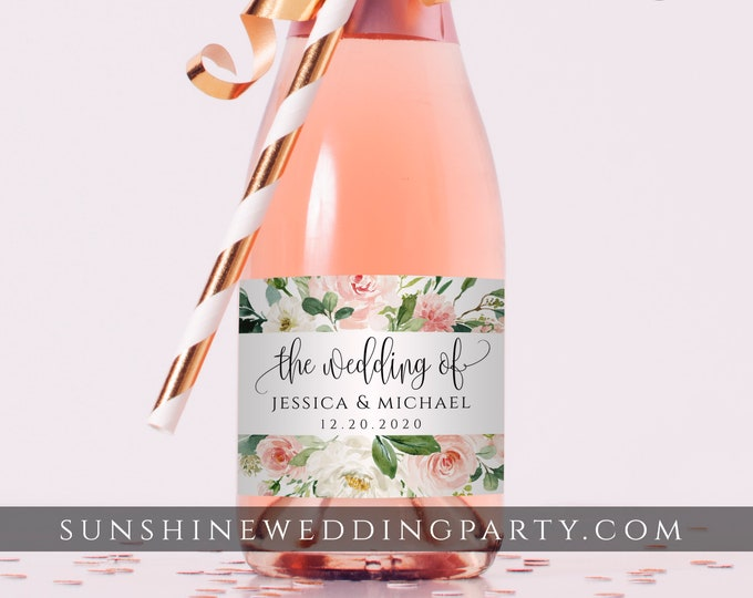 Mini Champagne Bottle Label Template, Blush Pink Wedding / Bridal Shower Favor, 100% Editable Text Printable, Instant Download, Templett, F5