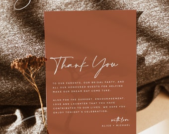 Modern Thank You Letter, Terracotta Flat 4x6 Card, Napkin Note, In Lieu of Favors Card, Editable Template, Instant Download, Templett, T1