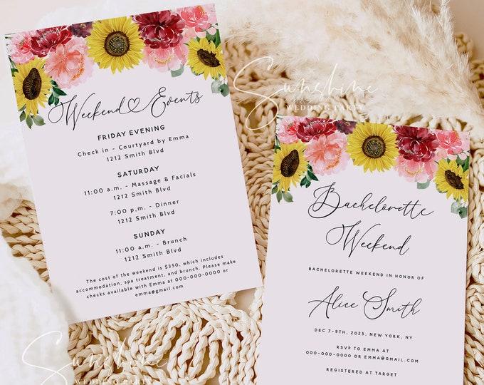 Sunflower Burgundy Bachelorette Party Invitation Template, Floral Bachelorette Invitation & Itinerary Template, Editable Bachelorette F12