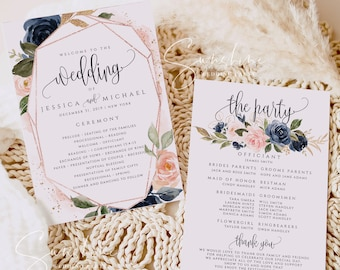 Wedding Program Template, Navy Blush Ceremony Program Template, INSTANT DOWNLOAD, 100% Editable Text, Printable Program, DIY, Templett, F6