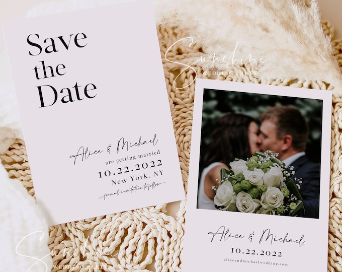 Modern Minimalist Photo Save the Date Template, Wedding Save the Date Postcard, Electronic Save the Date, Save the Date Instant Download, M3
