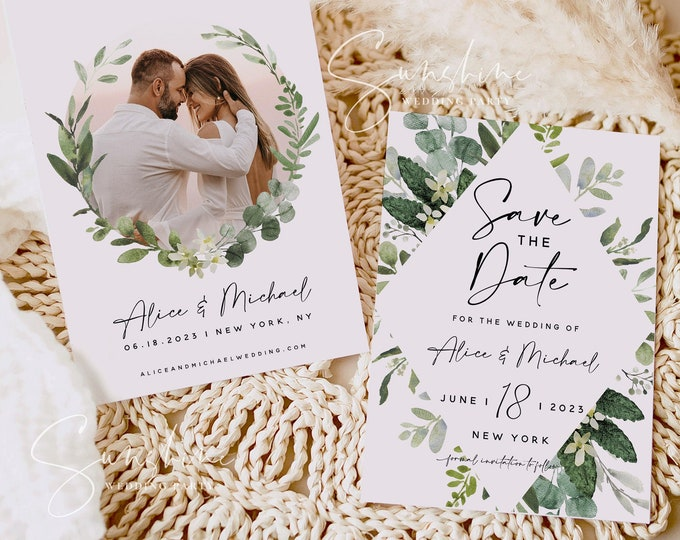 Eucalyptus Greenery Photo Save the Date Template, Wedding Save the Date Electronic Save the Date, Save the Date Instant Download Templett G3