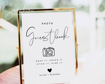 Photo Guest Book Sign, Wedding Photo Guestbook Sign, Photo Guestbook Printable, Personalized Wedding Guestbook Sign, Templett, M4