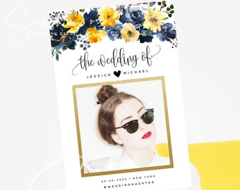 Blue Yellow Wedding Photo Prop Booth Frame Sign Template Floral Selfie Frame Prop Frame Editable Printable Template INSTANT Templett F15