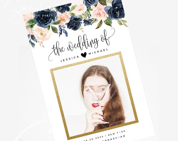 Navy Blush Wedding Photo Prop Booth Frame Sign Template Floral Selfie Frame Sign Prop Frame Editable Printable Template INSTANT Templett F6