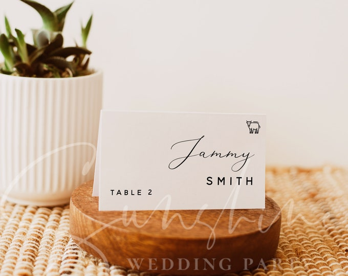 Wedding Place Card Template, Wedding Guest Name Cards, Meal Icons, Printable Wedding Place Cards, Editable, Instant Download, Templett, R3