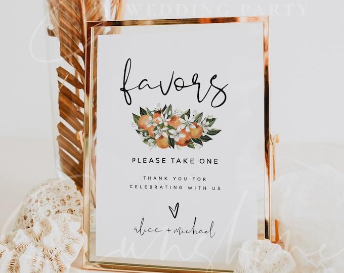 Favors Sign Template, Citrus Wedding Favors Signs, Orange Favors Sign Template, Botanical Wedding Favors Signs, Instant Download Templett C2