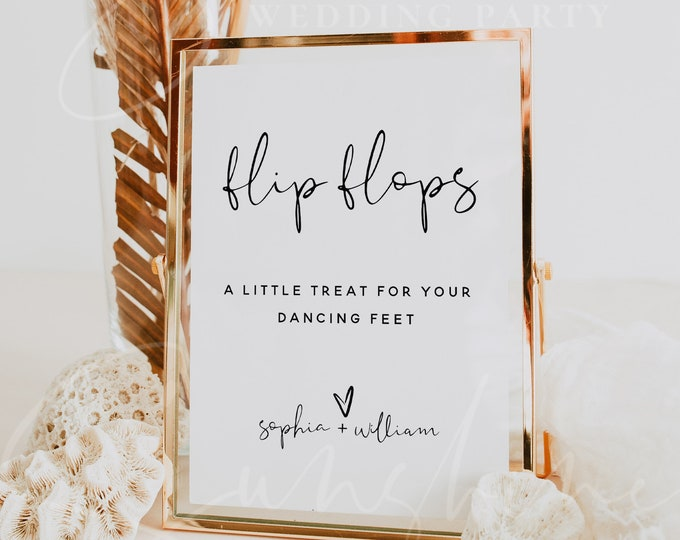 Flip Flops Sign Template, Wedding Signs, Printable Flip Flops Signs, Editable Template, Modern Wedding Signs, Instant Download, Templett, M8