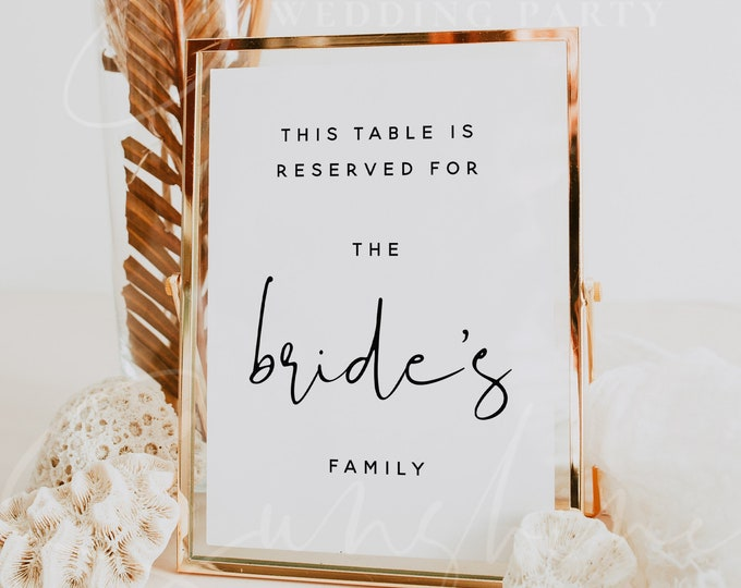 Wedding Reserved Table Sign Template, Minimalist Reserved Sign Template, Modern Printable Reserved Sign, Editable Reserved Sign Template, M8
