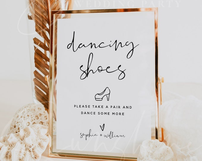 Dancing Shoes Sign Template, Wedding Signs, Printable Dancing Shoes Sign, Editable Text, Modern Wedding Sign, Instant Download, Templett, M8