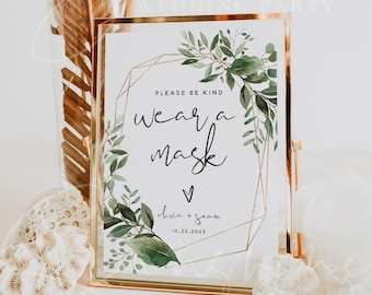 Greenery Wear a Mask Sign Template, Greenery Wedding Covid Sign Template, Printable Wear a Mask Signs, Editable Signs, Instant Download, G5
