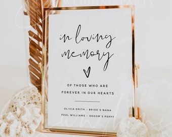 In Loving Memory Sign Template, Modern Wedding Sign, DIY Wedding Memory Sign Template, In Loving Memory Sign Printable, Instant Download, M8