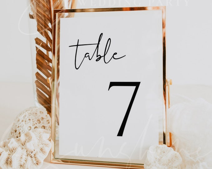 Wedding Table Number Sign Template, DIY Printable Table Number Card Template, Editable Wedding Table Number, Instant Download, Templett, M8