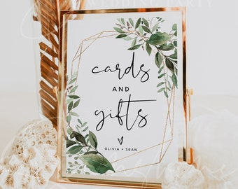 Greenery Cards and Gifts Signs Template, Wedding Cards and Gifts Signs, Printable Signs, Editable Template, Instant Download, Templett, G5