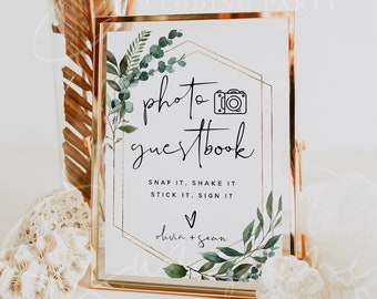 Photo Guest Book Sign, Greenery Wedding Photo Guestbook Sign, Photo Guestbook Printable, Personalized Wedding Guestbook Sign, Templett, G5